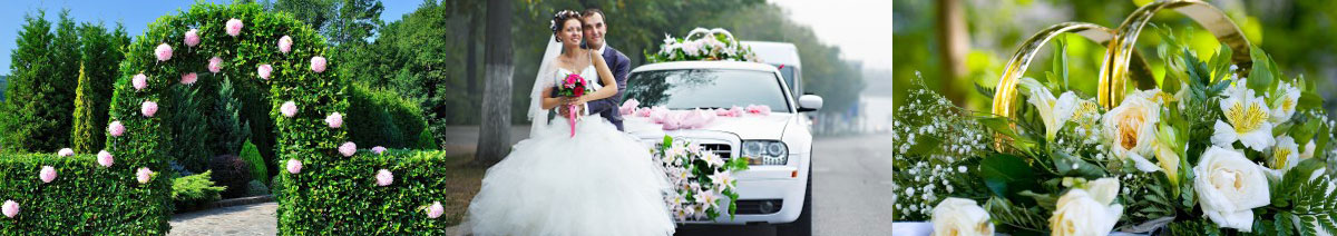 a newly wed couple near a rolls royce vehicle, wedding flowers